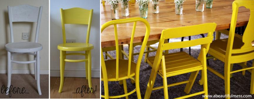 Amenajare Bucatarii-galben-scaune-diy