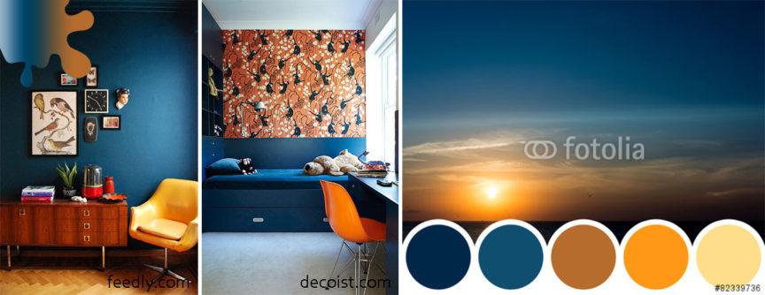 amanejare dormitor_bleumarin_portocaliu