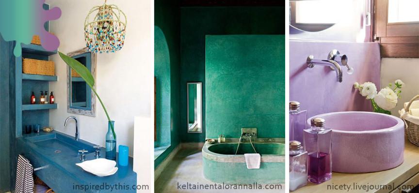 amenajare baie_albastru verde roz_tadelakt