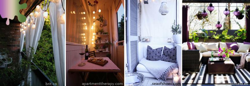 amenajare balcon_verde mov_lampioane draperii