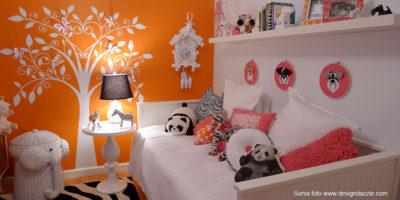 amenajare camera copii__portocaliu_roz_alb