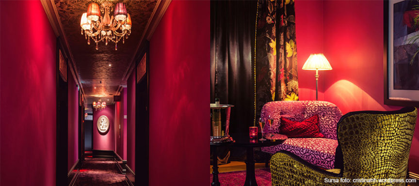 amenajare hol receptie hotel roz-magenta