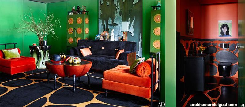 amenajare living HongKong_verde_negru_portocaliu