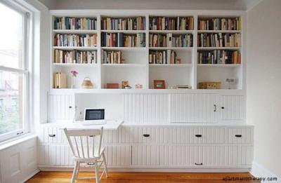 amenajare living_alb_birou biblioteca
