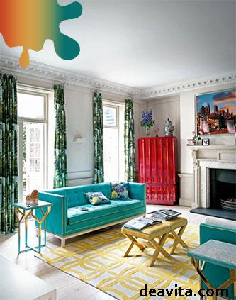 amenajare living_rosu_turquoise galben
