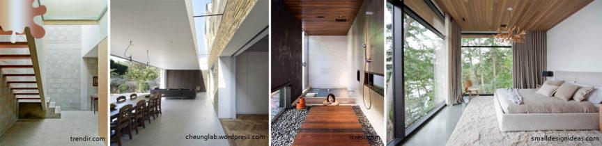 amenajare minimalism_pardoseala_alb negru maro lemn