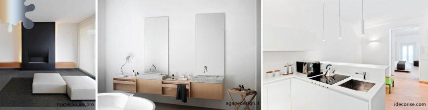 amenajare minimalism_pereti_alb negru maro lemn