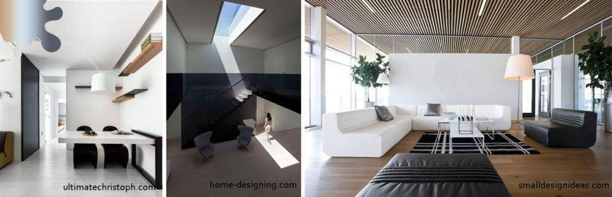 amenajare minimalism_tavan_alb negru maro lemn