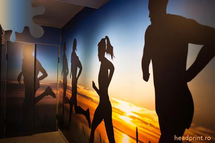 amenajare sala fitness_albastru galben_fototapet