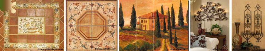 amenajare toscan_negru maro_accente perete placi ceramice fier forjat