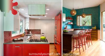 bucatarie_rosu oranj_combinatie turquoise