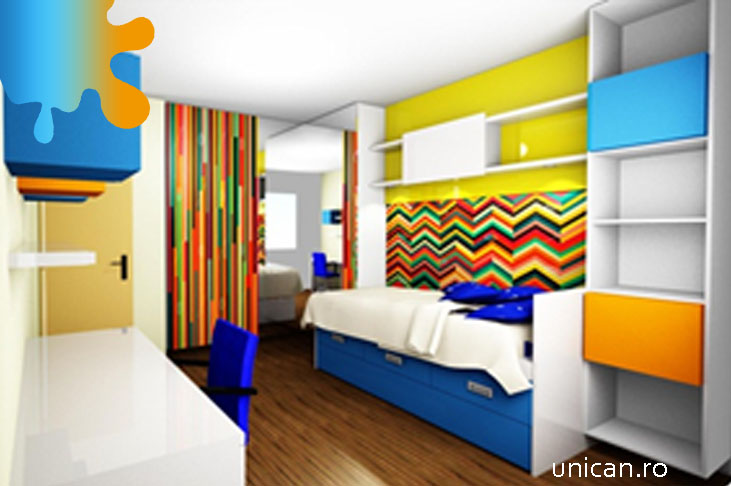 camera copil_albastru portocaliu_mobilier